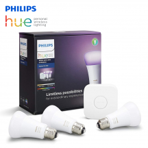 Philips Hue 10W A60 E27 Starter Kit - 1 Philips Hue Bridge & 3 Philips Hue white and color ambiance bulbs