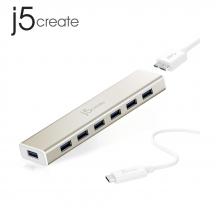 j5create JCH377 USB Type-C 7-Port USB 3.0 Hub with AC Adapter