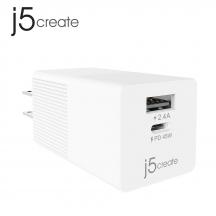 j5create JUP2445 45W 2-Port Dynamic PD USB-C Mini Charger