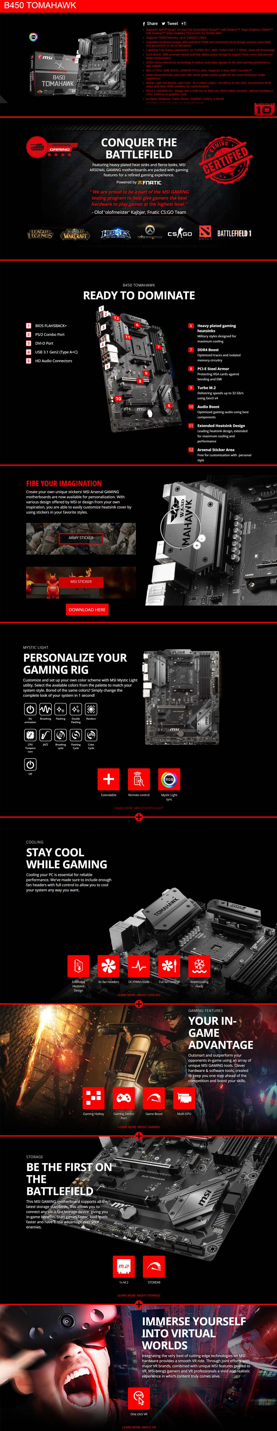 MSI B450 TOMAHAWK Motherboard (AMD AM4)