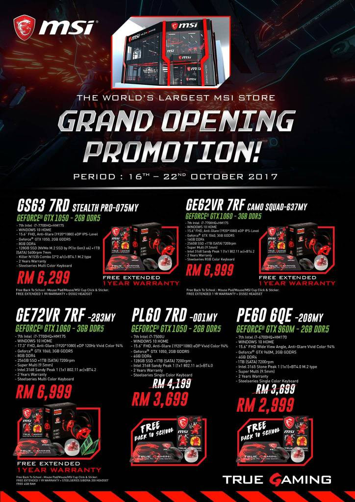 MSI Grand Opening Promotion
